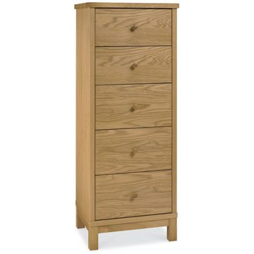 Atlanta Oak 5 Drawer Tall Chest