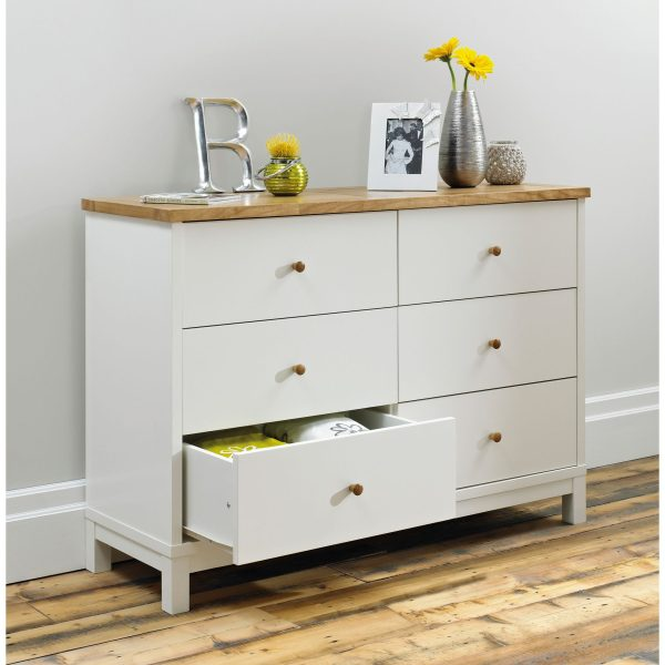 Two Tone Atlanta 6 Drawer Wide Chest