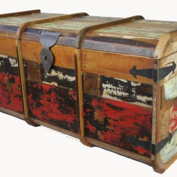 BIG OLD DISTRESSED PAINTED TEAK CHEST