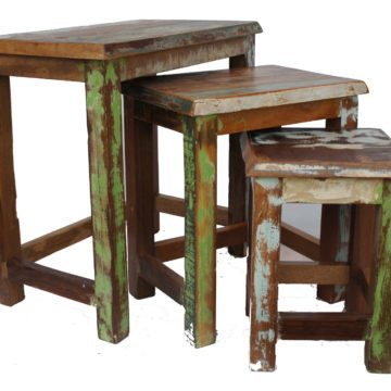 OLD PAINTED TEAK NEST OF 3 TABLES