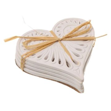Set of 4 Heart White Coasters