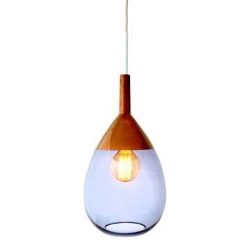 Lute pendant lamp, deep blue / copper, 49cmH