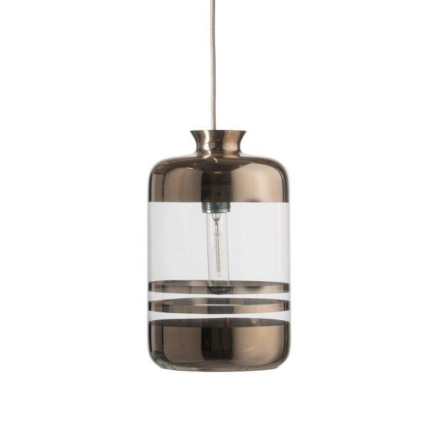 Pillar Lamp, Platinum Stripes on Clear