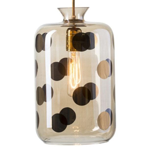 Pillar Pendant Lamp, Gold Dots