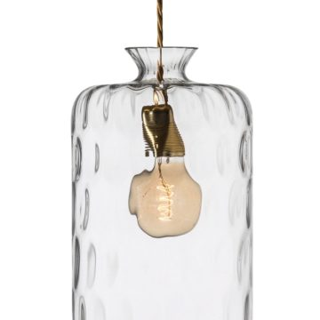 Pillar lamp, clear / silver, dimples