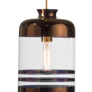 Pillar lamp, copper stripes on clear