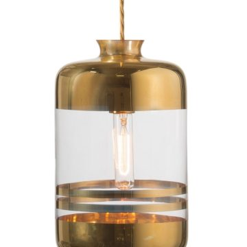 Pillar lamp, gold stripes on clear