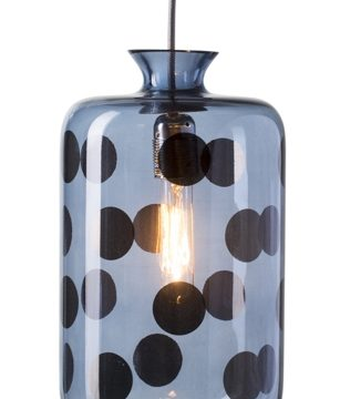 Pillar pendant lamp, blue dots on blue