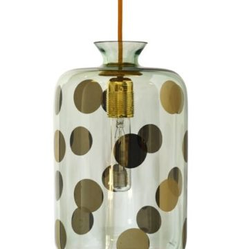 Pillar pendant lamp, green dots on green