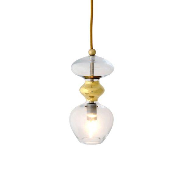Futura Pendant Lamp, Clear w Gold, 24cmH