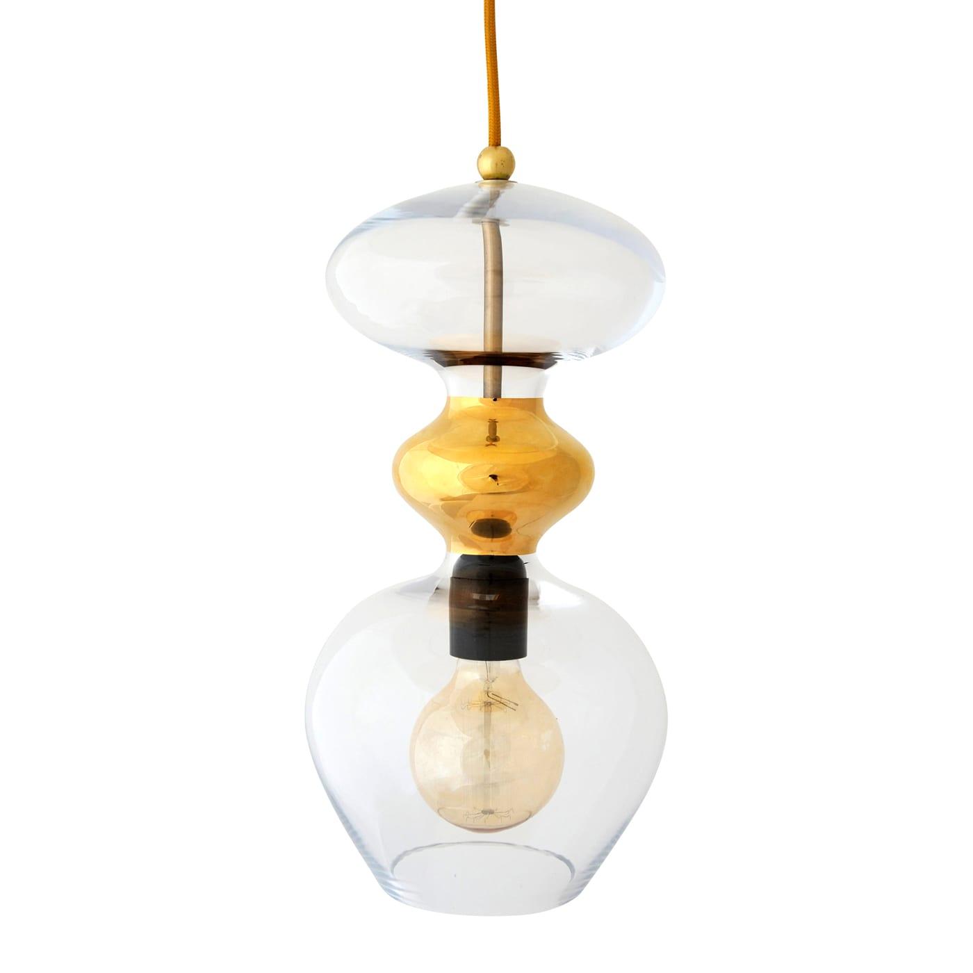Futura Pendant Lamp, Clear w Gold, 37cmH