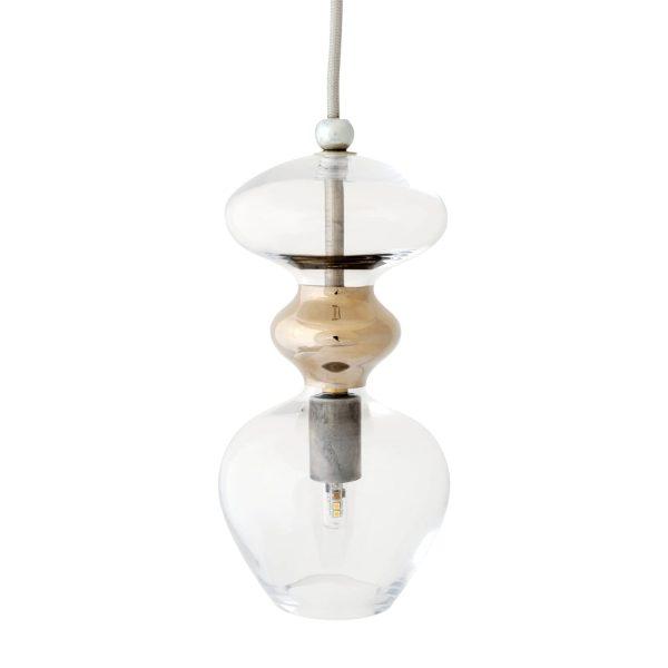 Futura Pendant Lamp, Clear w Platinum, 24cmH