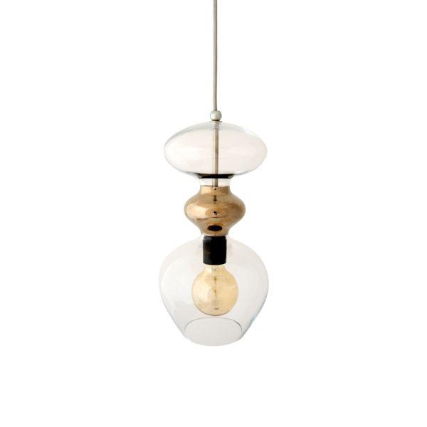 Futura Pendant Lamp, Clear w Platinum, 37cmH
