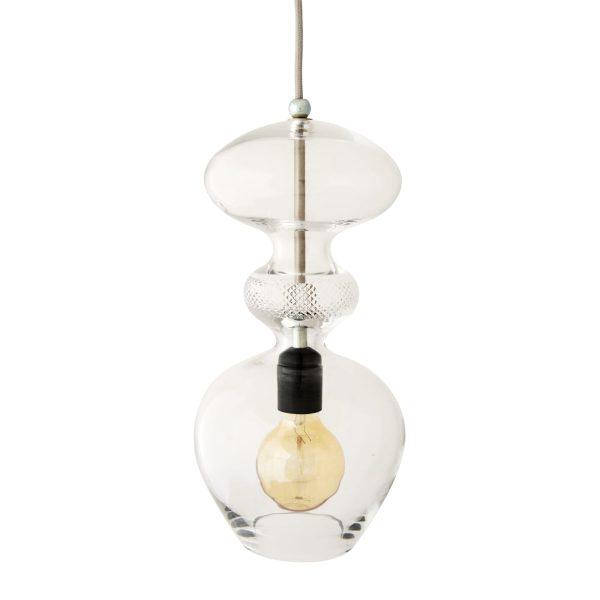 Futura Pendant Lamp, Crystal w Silver, 37cmH