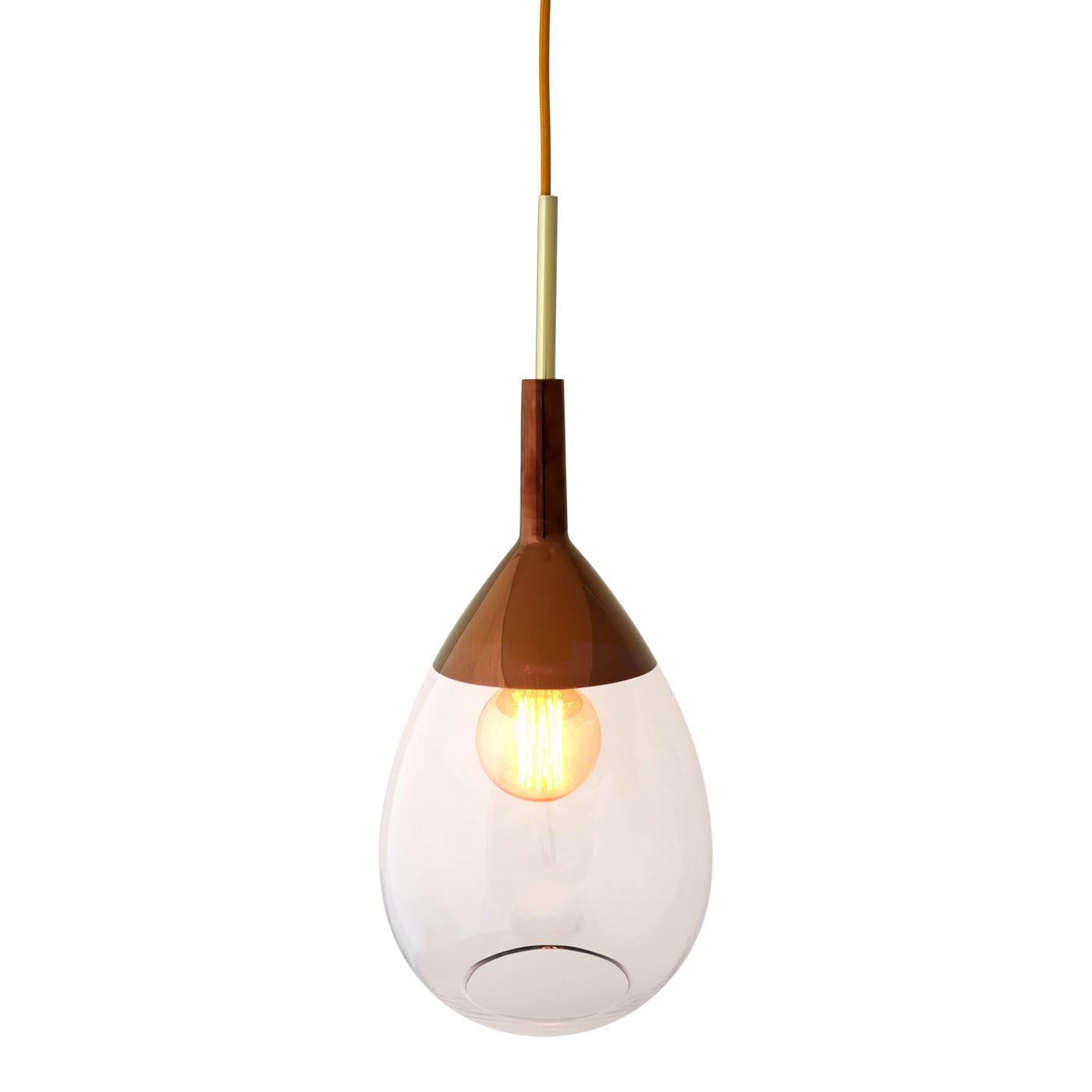 Lute Pendant Lamp, Clear / Copper, 49cmH