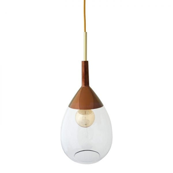 Lute Pendant Lamp, Clear / Copper, 49cmH