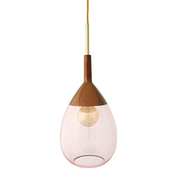 Lute Pendant Lamp, Coral / Copper, 49cmH