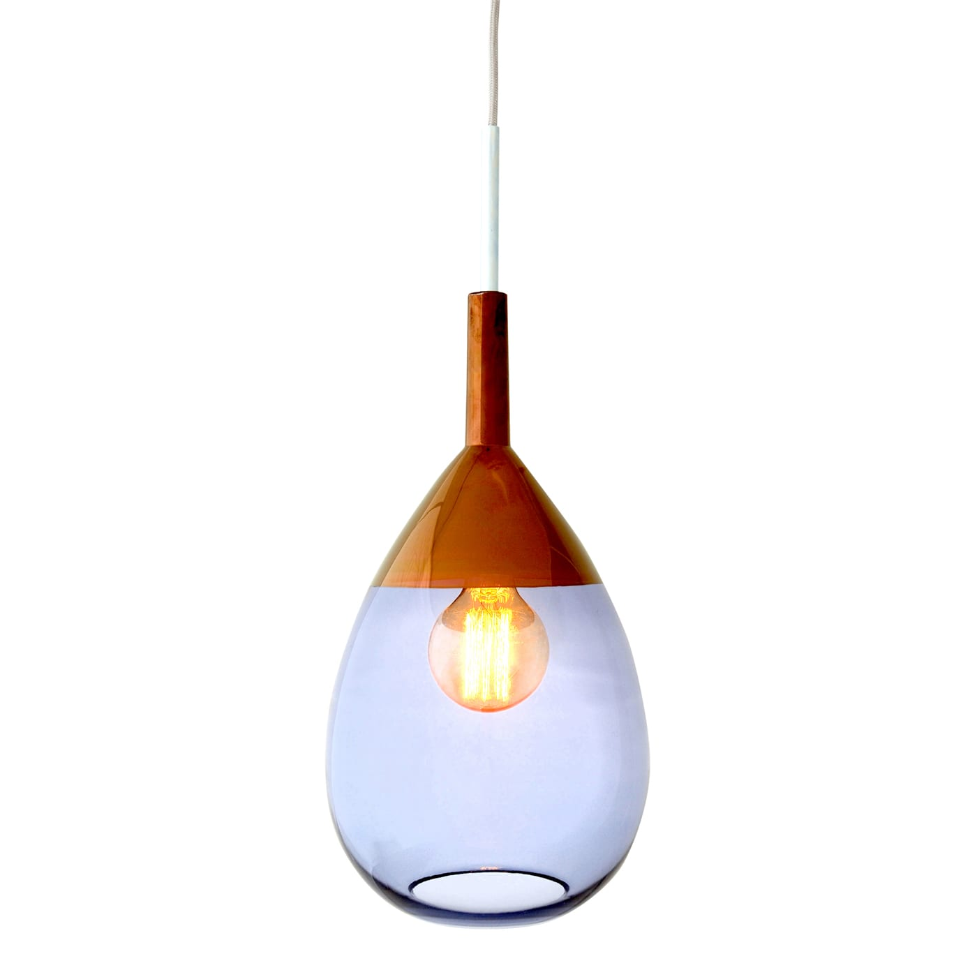 Lute Pendant Lamp, Deep Blue/Copper, 49cmH