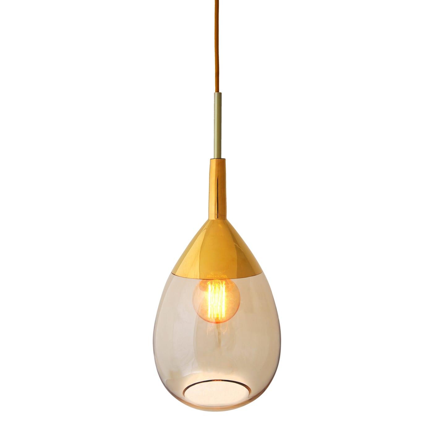 Lute Pendant Lamp, Golden Smoke, 49cmH