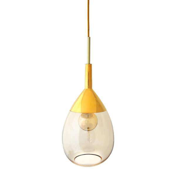 Lute Pendant Lamp, Golden Smoke, 49cmH