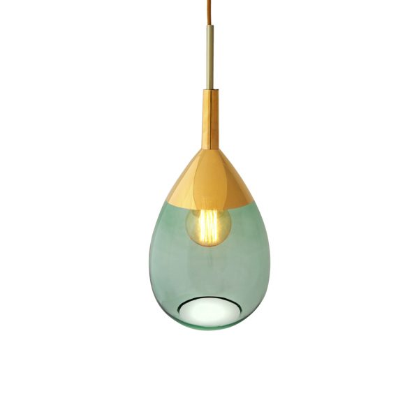 Lute Pendant Lamp, Green / Gold, 49cmH