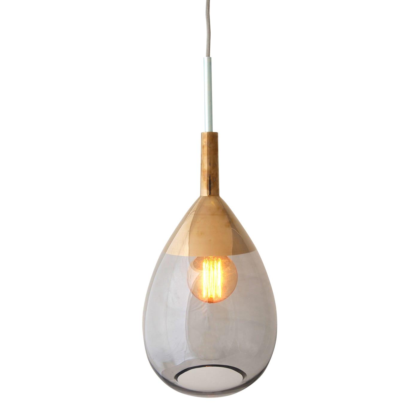 Lute Pendant Lamp, Smokey Grey / Platinum, 49cmH