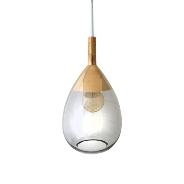 Lute Pendant Lamp, Smokey Grey / Platinum, 49cmH