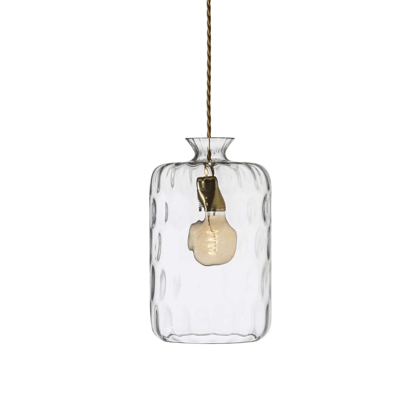 Pillar Lamp, Clear : Brass, Dimples