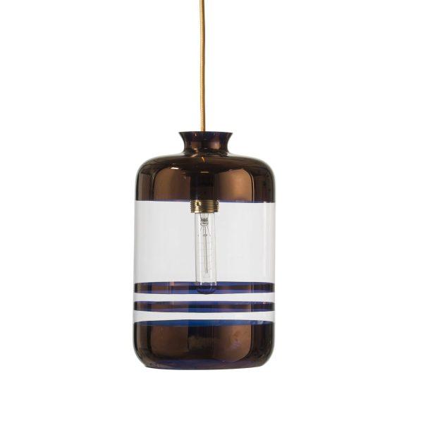 Pillar Lamp, Copper Stripes on Clear
