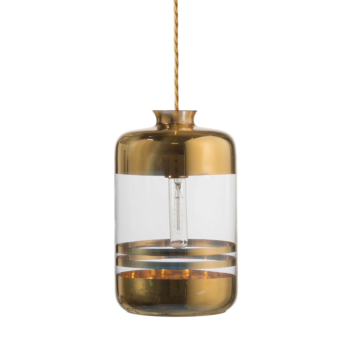 Pillar Lamp, Gold Stripes on Clear