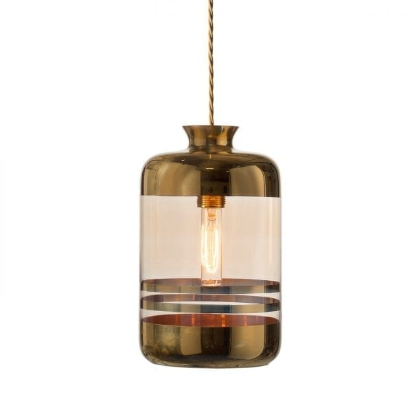 Pillar Lamp, Gold Stripes on Gold