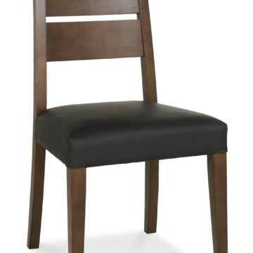 Akita Walnut Slatted Chair - Brown Faux Leather PAIR