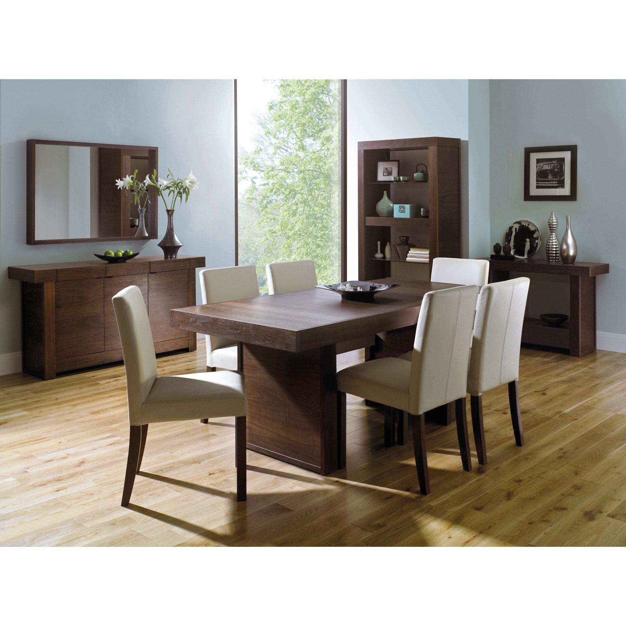 Akita Walnut 6 Seater Panel Dining Table