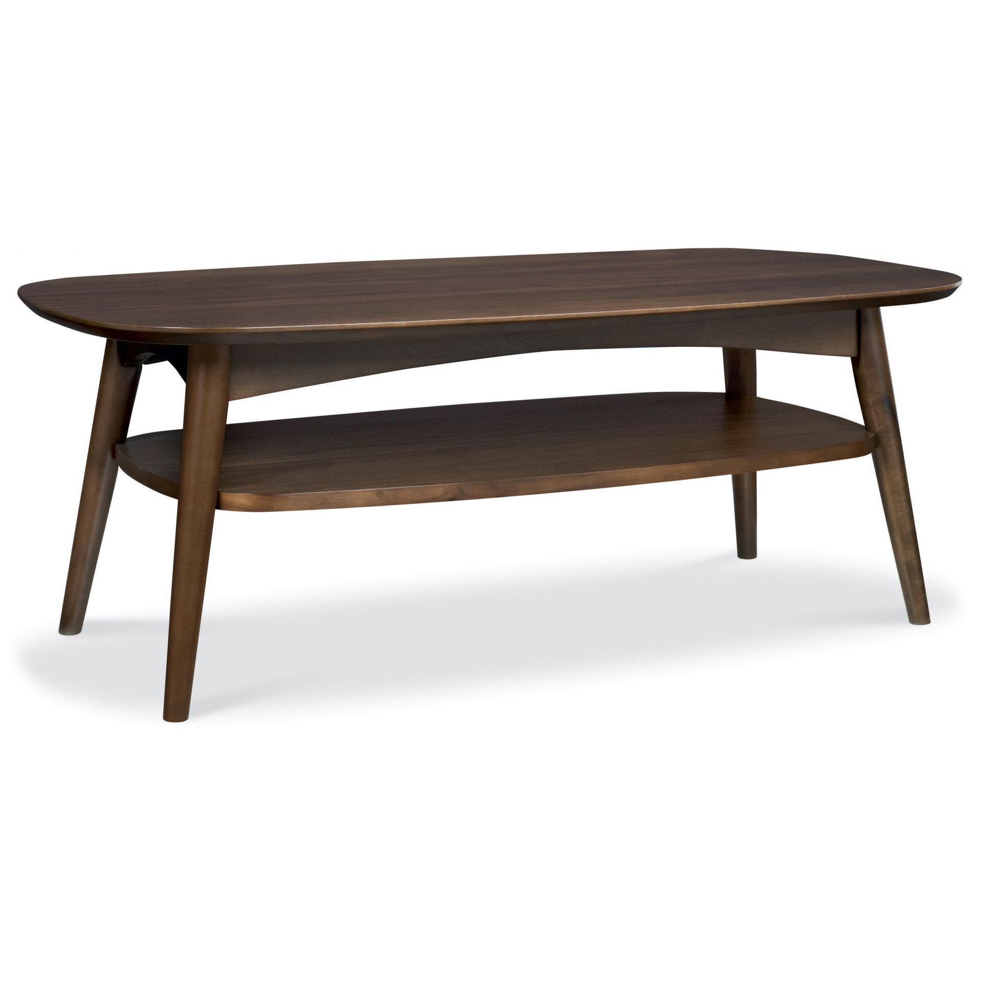 Walnut Oval Coffee Table Uk: Oslo Walnut Coffee Table With Shelf