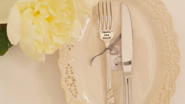Hand-stamped Fork – 'Faken the bacon'
