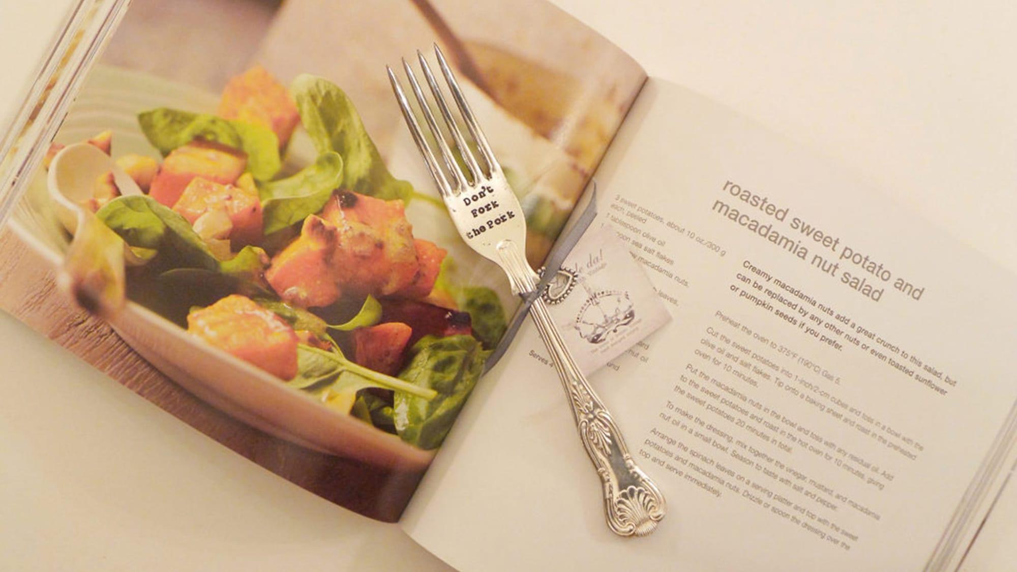 Hand-Stamped Fork - 'Don't fork the pork'