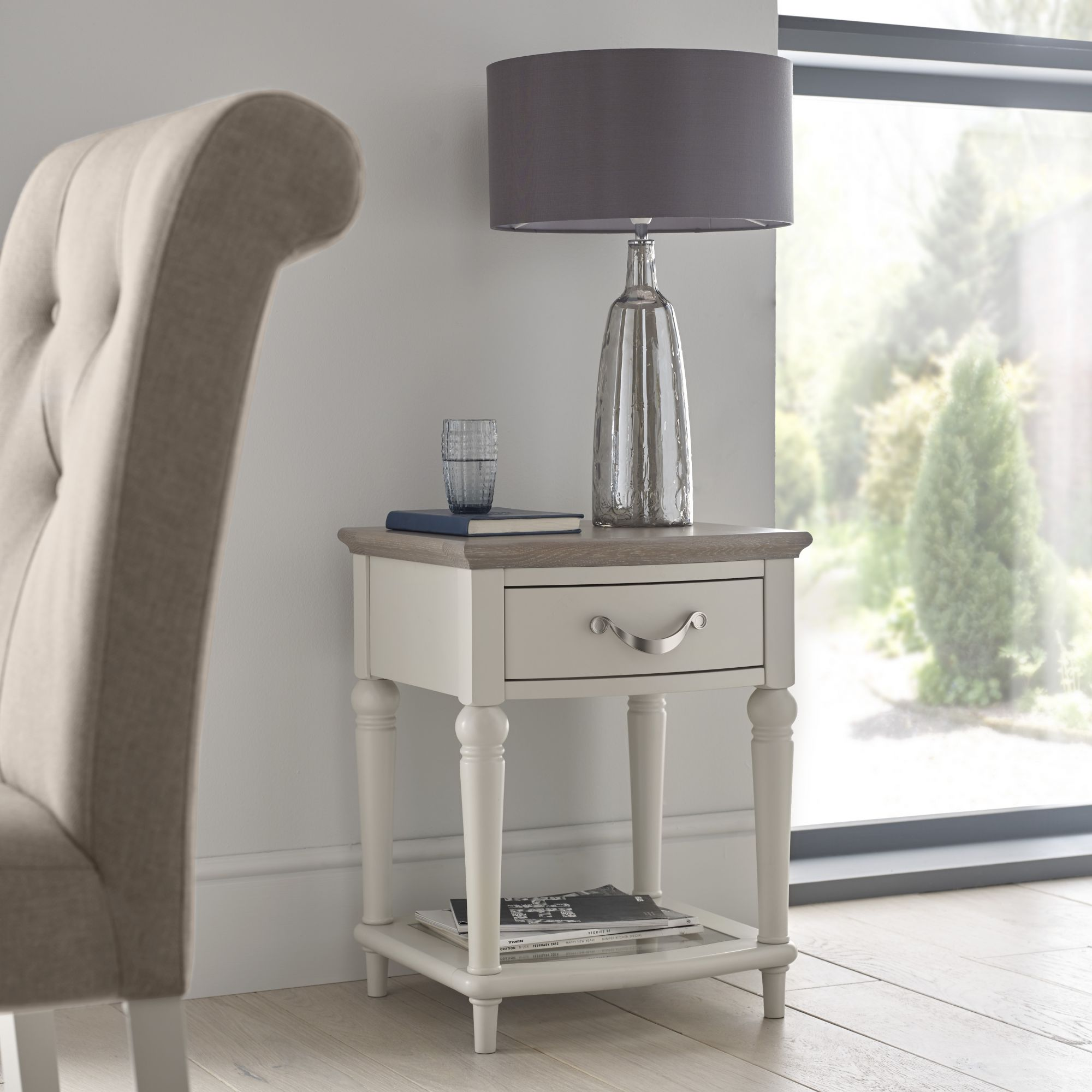 ... Montreux Washed Oak U0026 Soft Grey Lamp Table
