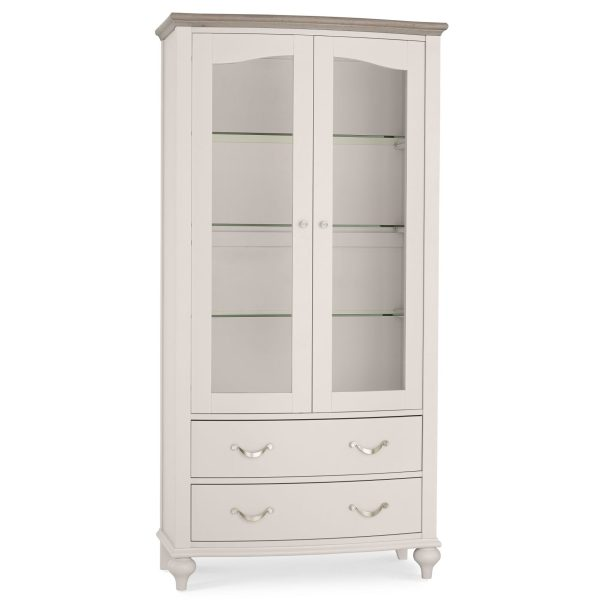 Montreux Washed Oak & Soft Grey Display Cabinet