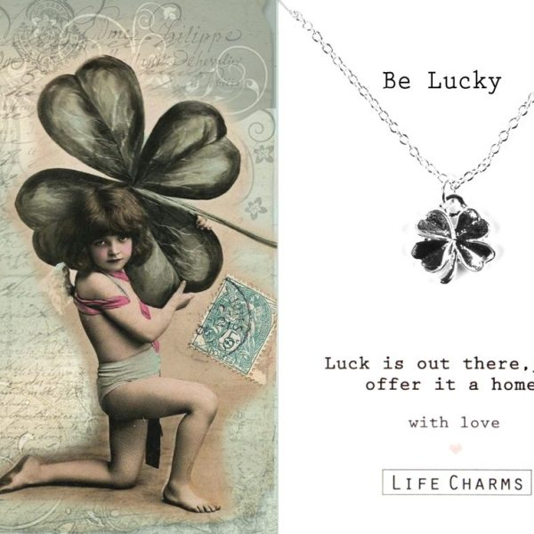 'Be Lucky' Four Leaf Clover Necklace
