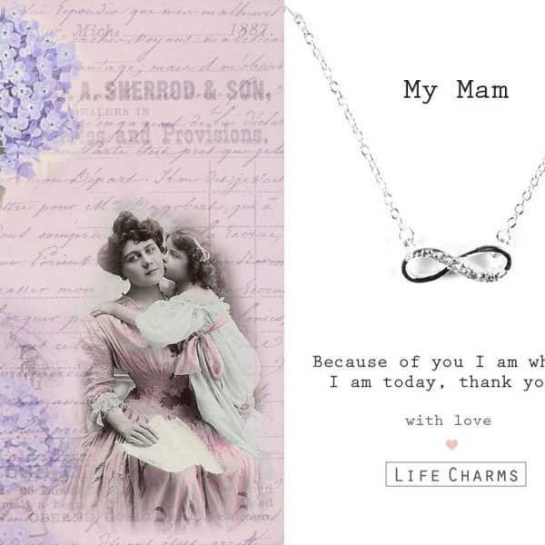 'My Mam' Crystal Infinity Necklace