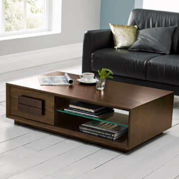 City Walnut Panel Coffee Table with Drawer