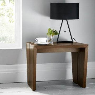 City Walnut Panel Lamp Table