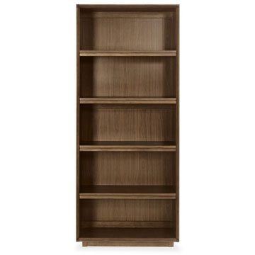 City Walnut Wide Bookcase
