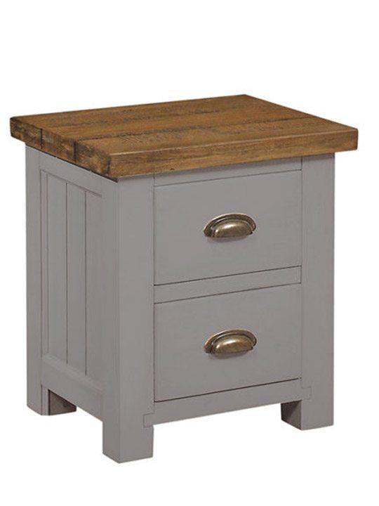 Grey Bedside Tables: Gresford Grey 2 Drawer Bedside Table