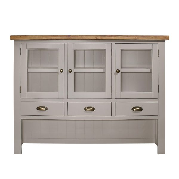Gresford Grey Hutch 3 Door 3 Drawer Sideboard