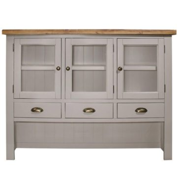 Gresford Grey Hutch 3 Door 4 Drawer Sideboard