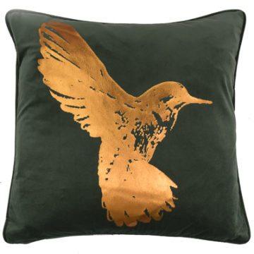 HUMMINGBIRD CUSHION | EUCALYPTUS GREEN
