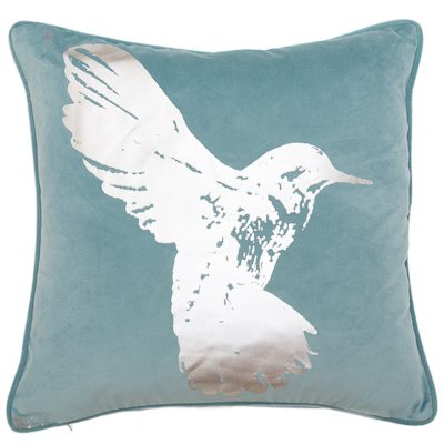HUMMINGBIRD CUSHION | OCEAN BLUE | VEGAN HAVEN