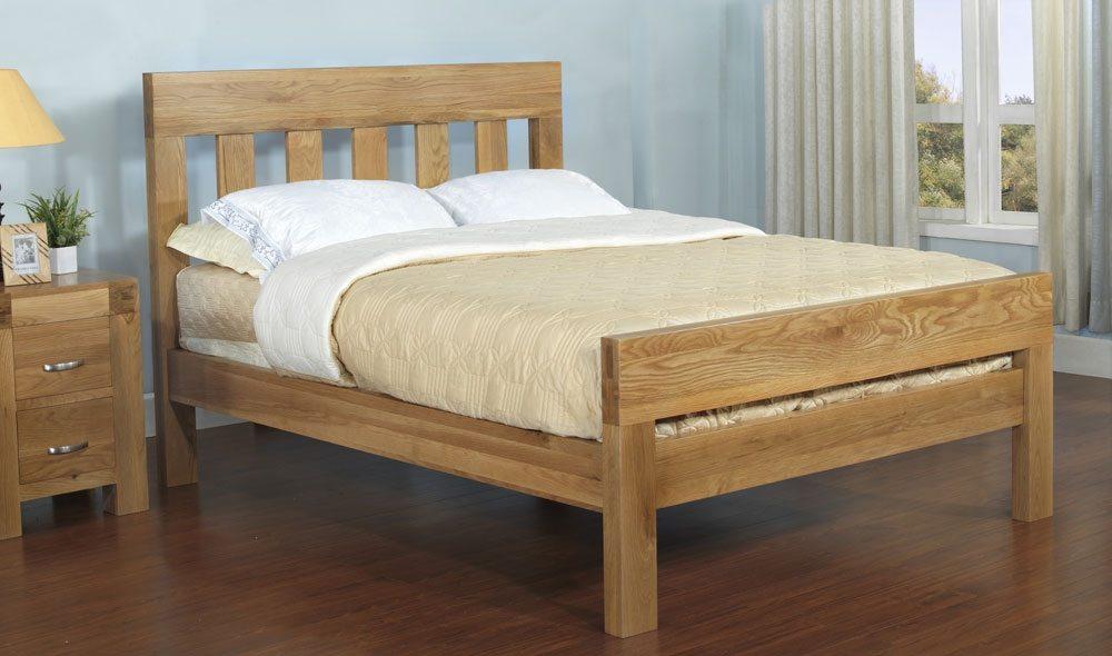 santana blonde oak super king bed frame
