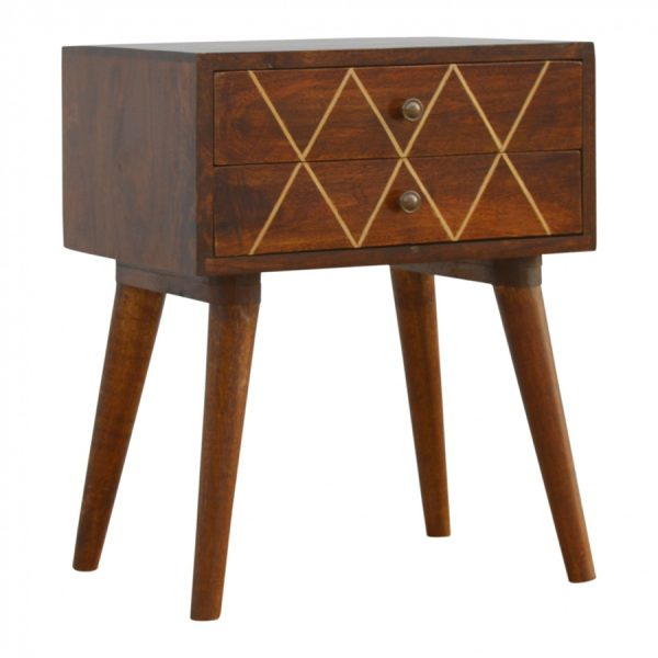 Mango Hill 2 Drawer Bedside with Gold Wiring
